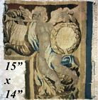 """Antique c.1700s French Gobelin Tapestry Fragment, Figural, Putti, 15"""" x 14"""""""