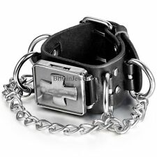 Punk Rock Gothic Cross Link Chain Black Leather Bracelet Men's Boy's Wrist Watch