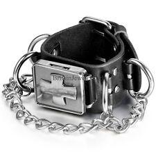 Punk Rock Gothic Cross Link Chain Black Leather Bracelet Men's Boy's Wrist Watch