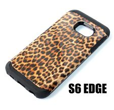 For Samsung Galaxy S6 Edge - TPU RUBBER HYBRID CASE BROWN BLACK LEOPARD CHEETAH