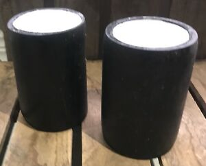 Pair Large Black Round Candle Holder White Candle Pillar Table Rustic Light Two