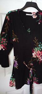 New (NWOT) Ladies George at Asda Black Floral Summer Longline Tunic Top - 18