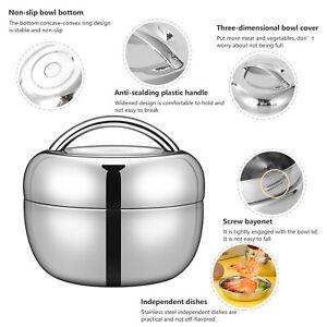 Edelstahl Doppelschicht Rund/Bento Thermoskanne Lunchbox Essen Behälter 0.8-1.3L