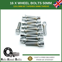 16 X Extra Long Wheel Bolts M12X1.5 50mm For BMW With Spacers Alloy Wheels