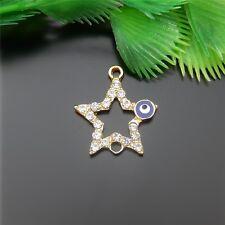 KC Gold Crystal Enamel Alloy Star Shape Charms Pendant Jewelry Findings 8pcs