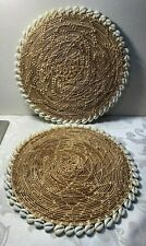 """Pair of Vintage Hand Woven Cowrie Shell Mat Wall Hangings 11 1/4"""" Round"""