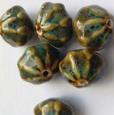 6 en céramique émaillée Gourd Perles, vert/bleu 20 mm fabrication de bijoux/perles/Artisanat