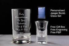 Personalised Jager Bomb Glass Gift Set,  Graduation Gift Set