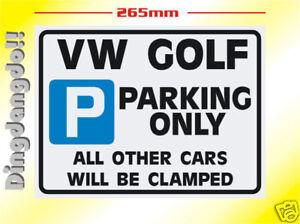 VW Golf Volkswagen Parking Sign Novelty Gift
