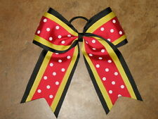 "NEW ""RED BLACK YELLOW"" Cheer Hair Bow Pony Tail 3 Inch Ribbon Girls Cheerleading"