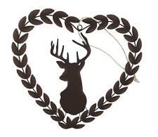 Shoeless Joe Rustic Stags Head Heart Wreath - Christmas Decortaion / Gift women