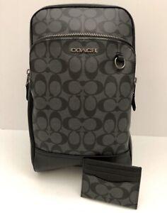 COACH Men's Graham Pack In Signature Canvas F89937 & ID Card Case F58110 BUNDLE