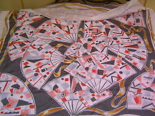 """Lagerfeld White Pink Gray Fans 31""""x32"""" 100% Hand Rolled Silk Scarf"""