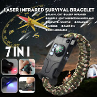 7 in 1 Survival Bracelet Compass Flint Fire Starter Scraper Whistle Gear Kits a