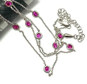 .925 Sterling Silver 1.75ct Round Cut Ruby Diamonds by the Yard Necklace