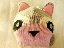 Girls Cute Animal Racoon Pink Grey white stand up ear pom pom tail beanie hat BN