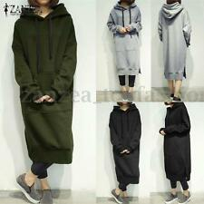 ZANZEA Women's Long Sleeve Loose Casual Plus Sweatshirt Hoodies Long Maxi Dress