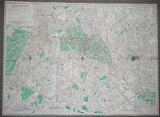 PARIS - MAP - AUGUST 1955 - ANTIQUE - COLOR STREET MAP -  FRANCE - Plan de Paris
