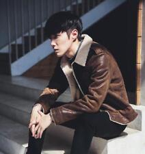winter Mens coat lamb fur cotton blended lapel faux leather Jacket parka outwear