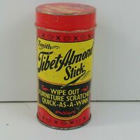 "Zenith Tibet Almond Stick Advertising 3-3/8"" Tin Scratches Wood Puddy Full Stick"