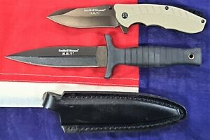 Smith & Wesson Boot knife dagger & folder blade 2 pack combo