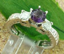 1.31 CT Ladies 14k Solid White Gold Natural Amethyst Diamond Ring Princess Cut