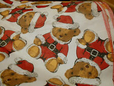Christmas Circle Shaped Tablecloth, Santa Suit Teddy Bears, 6 foot Round Vinyl