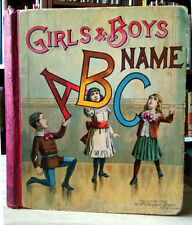 McLoughlin Brothers, GIRLS' AND BOYS' NAME ABC, alphabet book, board book, 1889