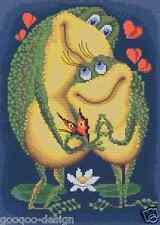 paquet broderie Vivement Amour Point de croix perles 21x29cm crapaud Frog LOVE