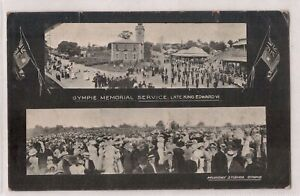 VINTAGE POSTCARD GYMPIE MEMORIAL SERVICE, LATE KING EDWARDS VII QLD 1900s