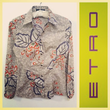 Etro $400 taupe floral print skinny-fit button down cotton shirt w/stretch~S/XS