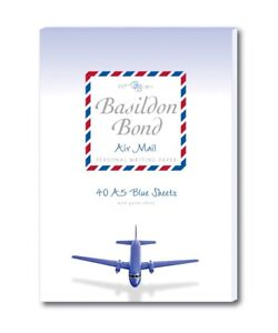BASILDON BOND Blue Air Mail Paper - Pad of 40 Lightweight Sheets of A5 Paper