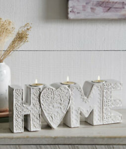 NEXT Home Ceramic Tealight Holder Holds 3 Tea Lights Floral Tile Shabby Chic