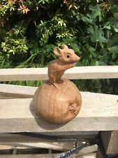ChiselCraft Wooden Hand Carved mouse on Apple Wood  Carving In or Outdoors A
