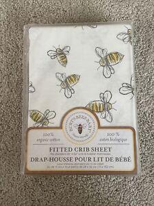 Burt's Bees Baby Organic Cotton Fitted Crib Sheet Yellow White Bees NEW NIP