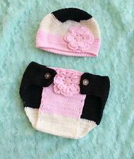 Baby Girl Handmade Crochet Nappy cover & Beanie Newborn set 0-6 mos Photo Prop