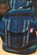 Backpack Baja woven Blue Black & Aqua Striped Durable southwest washable XL
