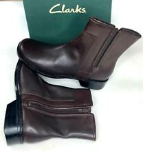 Clarks Womens Chelsea Boots Madrid Brown Leather Mid Calf Zip Closure Size 8 M