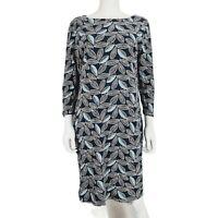 Mudd & Water Dress UK 12 Navy Blue Leaf Pattern Print Pockets
