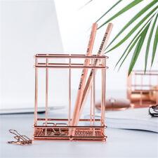 Pencil Pen Storage Box Holder INS Nordic Metal Rose Gold Square Desk Organizer