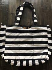 Ju Ju Be Bag Purse Black And White Stripe Diaper Baby Beach Tote Overnight Bag