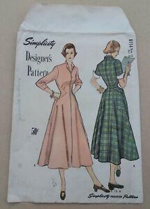 Ultra Rare Simplicity 8114 Designer Street Dress 1949 Sz 12 Cut Counted Complete