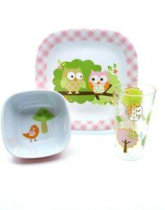 CIRCO CHILDS MELAMINE 3 PIECE DINNERWARE SET IN PINK OWL AND BIRD DESIGN NEW