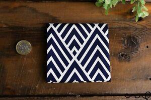 Handmade Unisex Cotton Pocket Square Handkerchief Navy Geometric Wedding Gift X