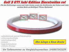 Vw Golf 3 GTI 16V Jubi Edition Zierstreifen Aufkleber rot 10m x 5mm Stoßstangen!