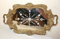 antique ornate heavy brass mirror figural centerpiece serving platter drink tray