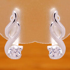 Flower White Cz French Clip Earrings Elegant 925 Sterling Silver Charming Stitch