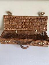 Vintage Wicker Rectangle Handled Basket Lid Clasps Storage Crafts Art Supplies