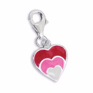 Silvadore HEART Red Pink White 925 Sterling Silver Clip On Charm Bracelet Box 68