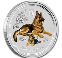 2018 ~ 1/2~OZ. .9999 SILVER ~ LUNAR  YEAR of the DOG ~ PERTH MINT ~COLOR~